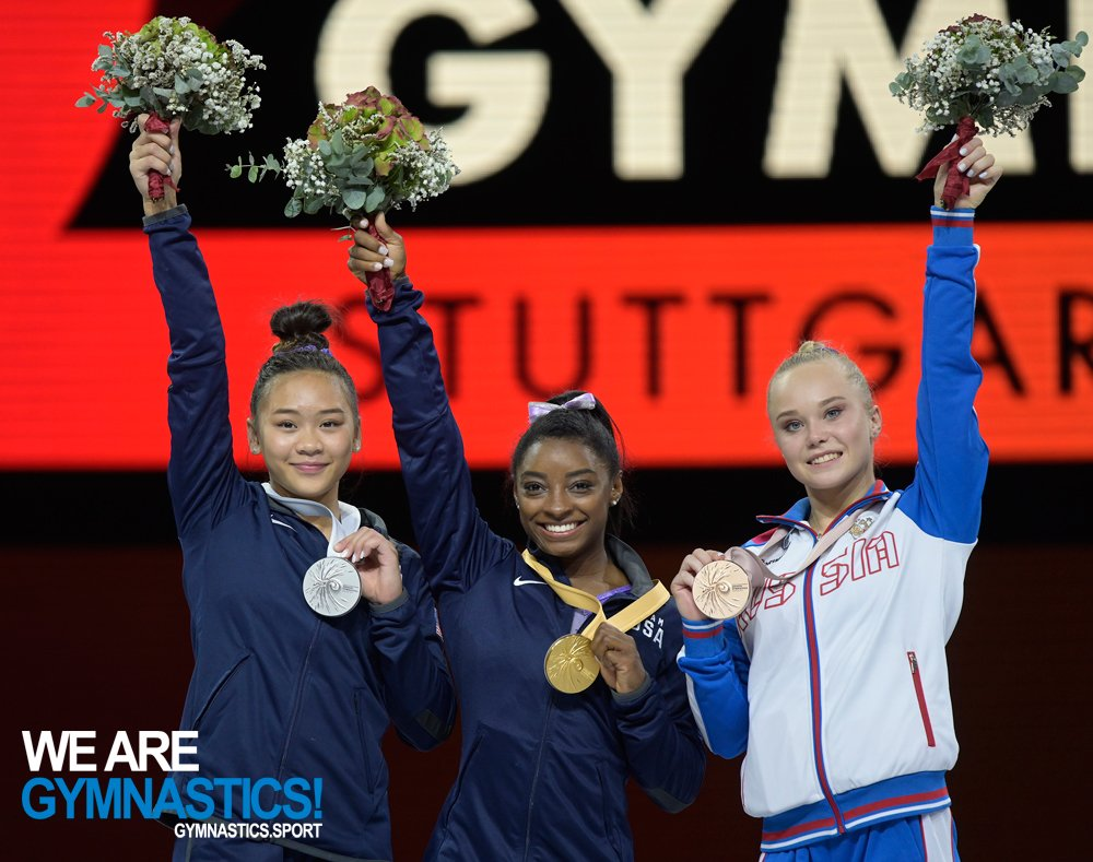 Simone Biles with her 25th world championship medal